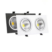 Bright LED Dimmable COB Downlight 14W 18W 24W 30W Square 2 Heads Ceiling Recessed Downlight Indoor