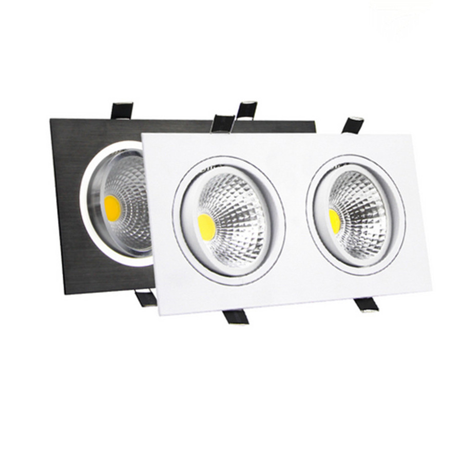 Bright LED Dimmable COB Downlight 14W 18W 24W 30W Square 2 Heads Ceiling Recessed Downlight Indoor <font><b>Lighting</b></font> Home Decor AC85-265V
