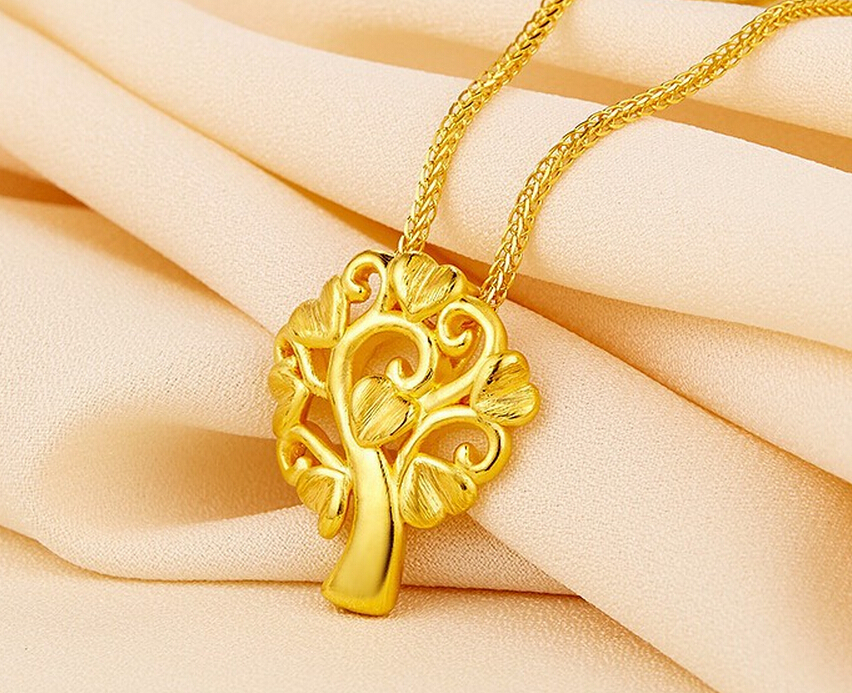 Luxury Fashion  Authentic 3D 24k Yellow Gold LOVE Tree Pendant 1.76gLuxury Fashion  Authentic 3D 24k Yellow Gold LOVE Tree Pendant 1.76g