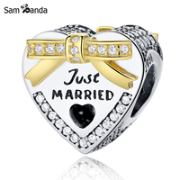 Sam Panda Authentic 925 Sterling Silver Bead Just Married Crystal Heart With Golden Bow Charm Beads