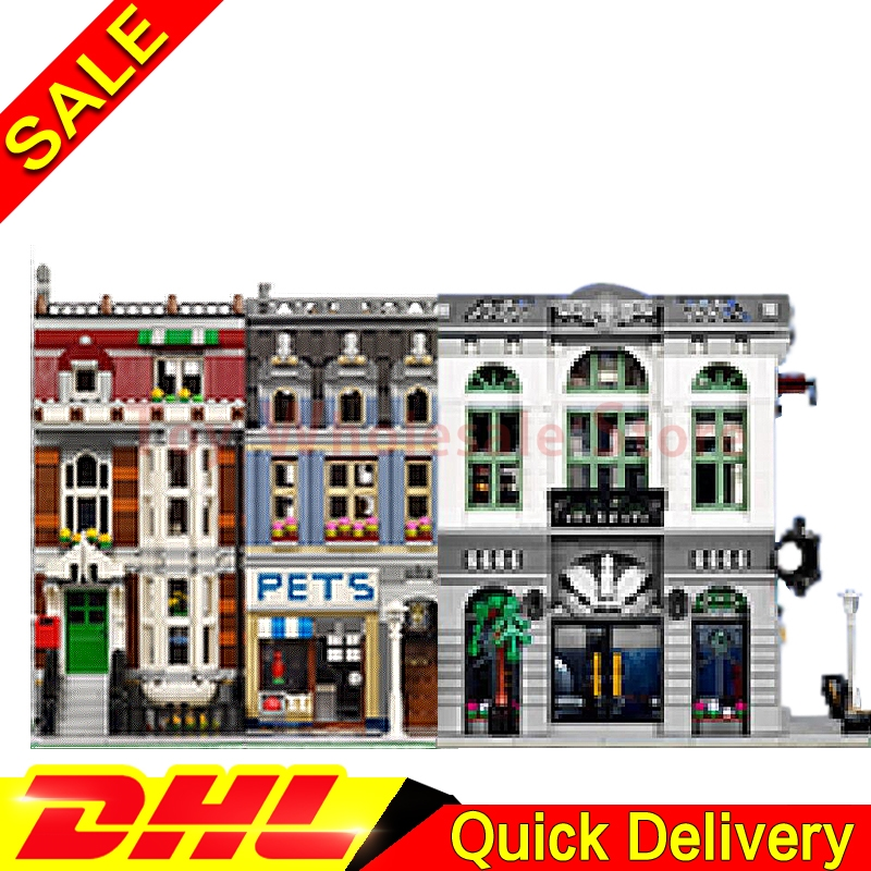 LEPIN 15001 Brick Bank + Lepin 15009 Pet Shop Supermarket Model Building Street Sight Kits Blocks Bricks lepins Toy 10251 10218 lepin 15009 city street pet shop model building kid blocks bricks assembling toys compatible 10218 educational toy funny gift