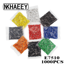 цена на 1000pcs/Pack E7510 Insulated Cord End Terminal Crimp Terminal Wire Connector Crimp Ferrules Crimping Terminals Tubular AWG #20