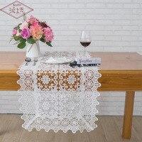 Longshow 1ピース高級45 × 140センチ大フラワー刺繍レーストリム宴会装飾中空アウトテーブルランナー付き2ピースランチョンマッ