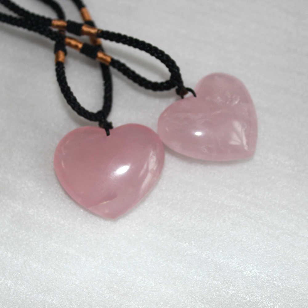 Natural Pink//Rose Quartz Crystal Love Heart Shape Healing DIY Jewelry Pendant