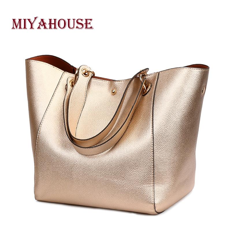Miyahouse Vintage Handbags Women Top-handle Bags Shining Design Female Large Capacity Shoulder Bags Ladies Messenger Bag