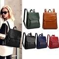Women Backpack PU Leather Cowhide Travel Casual Daypack Vintage Solid Ladies Girls Backpacks Popular
