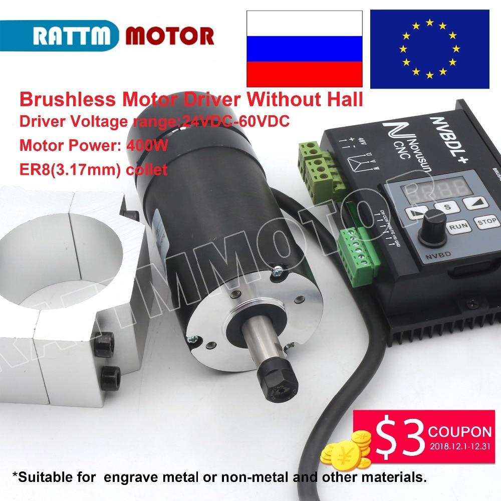 EU/RU доставка! NVBDL + 600 Вт безщеточный драйвер без зала и 400 Вт ER8 цанговый ЧПУ бесщеточный шпиндель гравировальный 48VDC