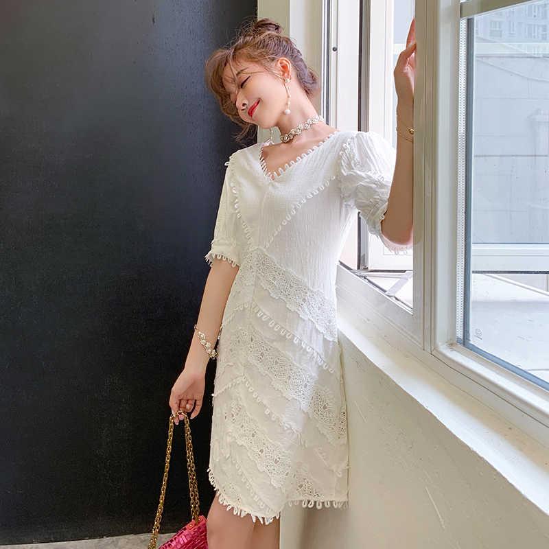 HAMALIEL дизайнерское женское вечернее платье 2019 летнее кружевное лоскутное белое праздничное платье с высокой талией Тонкий фонарь рукав мини Vestidos