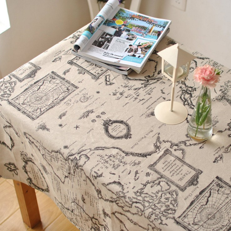 Order: 20 Pieces. World Map Tablecloth Linen And Cotton Restaurant Home  Textile Party Decoration Rectangular Table Cover Square Table