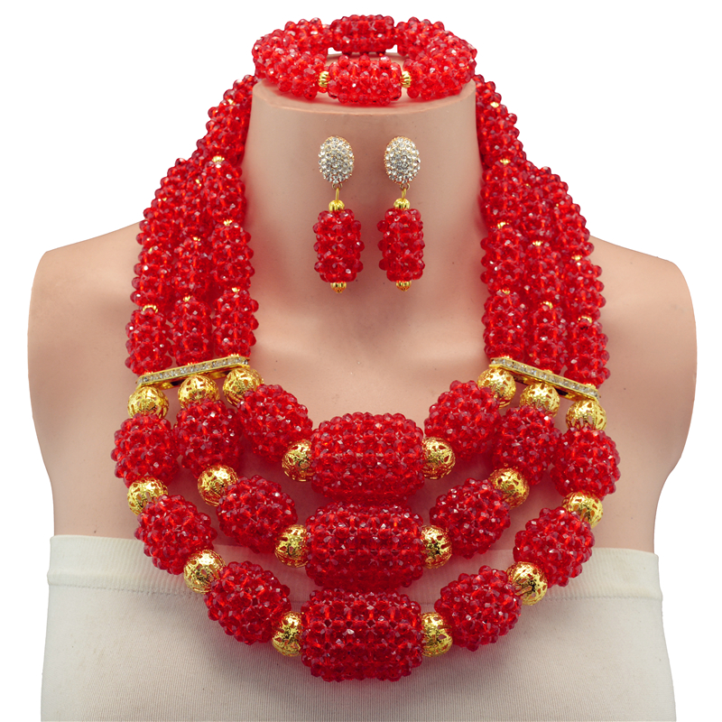Big Chunky Women Gift African Jewelry Set Dark Red Nigerian Wedding Beads Crystal Bridal Jewelry Sets Free ShippingBig Chunky Women Gift African Jewelry Set Dark Red Nigerian Wedding Beads Crystal Bridal Jewelry Sets Free Shipping