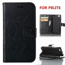 2016 Luxury leather phone case for Huawei P8 lite 5inch With Card Holder Cover black color