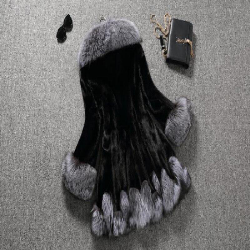 De Automne Fourrure Survêtement Veste D'eau Femelle Velours Manteau black Hiver Nouveau White Long Tq008 Renard Herbe Capuchon 2018 Fausse Femmes En Extérieur À Sx5f7nwCYq