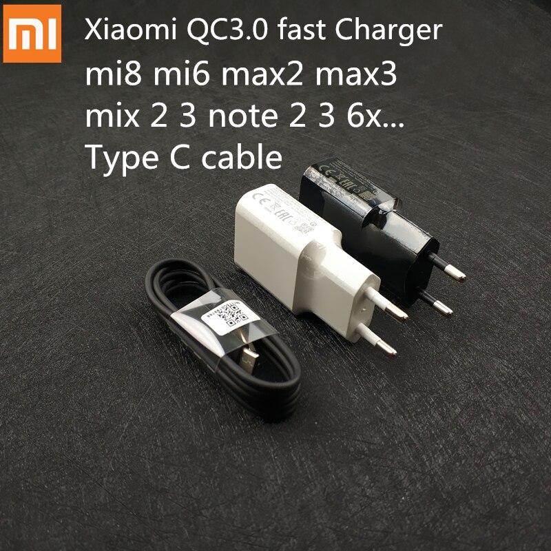 Original XIAOMI USB Charger EU Plug QC3.0 Fast Charge 9V 2A 12V 1.5A,Type C Cable For Mi 8 8SE 6 A1 6X 5X 5s plus Mix 2 2S Max 2