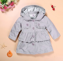 Kids Jacket 2018 Spring Autumn Girls Windbreaker Hooded Trench Coat Baby Girls Jacket Children Jacket Outwear girls leather coat 2018 autumn new belt pu outwear kids long trench suit collar fashion windbreaker child jacket for g
