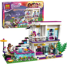 Bela 10498 Friends Livi s Pop Star House Building Block set Livi Andrea Minifigures dog Girls