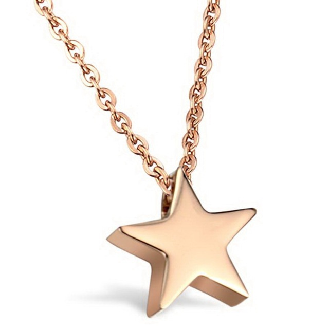Rose gold color tiny star shaped necklace in stainless steel in rose gold color tiny star shaped necklace in stainless steel mozeypictures Image collections