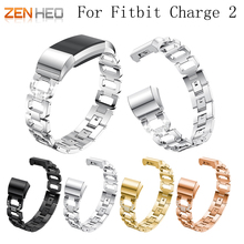 Metal Strap For fitbit charge 2 band strap Rhinestone Stainless Steel Bracelet Fitbit charge2 Wristbands Replace Accessories