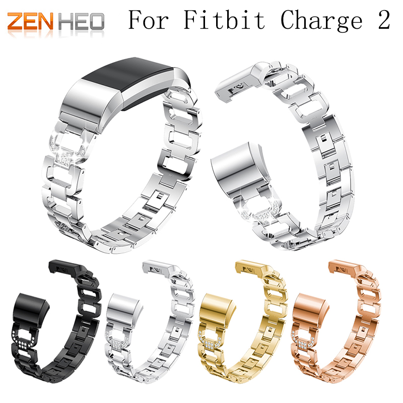 Pulseira de Metal para Fitbit Pulseira de Aço Inoxidável para Fitbit Carga Banda Cinta Strass Charge2 Pulseiras Substituir Acessórios 2