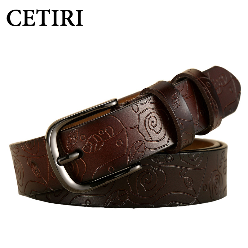 CETIRI New Fashion Wide Genuine Leather Belt Woman Vintage Floral Print Cowskin Belts Women Top Quality Strap Female For Jeans