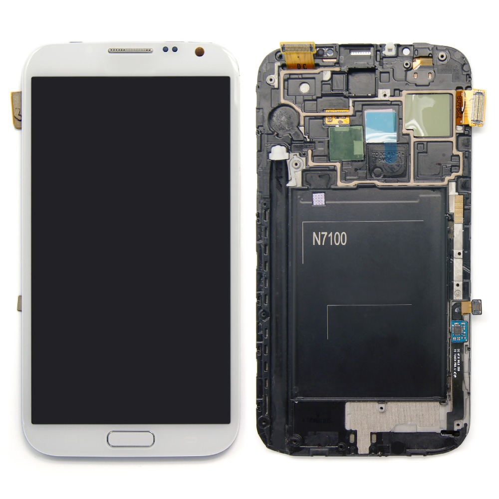 Replacement LCD display Touch Screen Digitizer with Frame Assembly repair part for SamSung N7100  Galaxy Note2  White+ tools