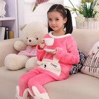 Winter Girls Pajamas Cartton Rabbit Kids Sleepwear 2Pcs Casual Baby Tracksuit Christmas Girls Clothes Children Clothing
