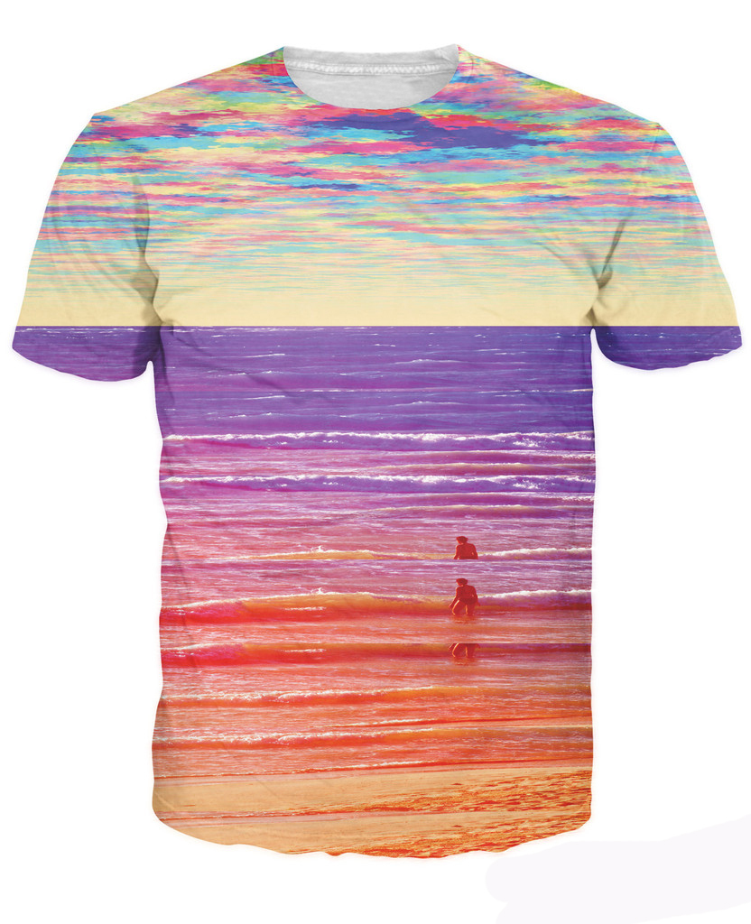 Waves t shirt pops of bright colors trippy sexy t shirt for Neon coloured t shirts