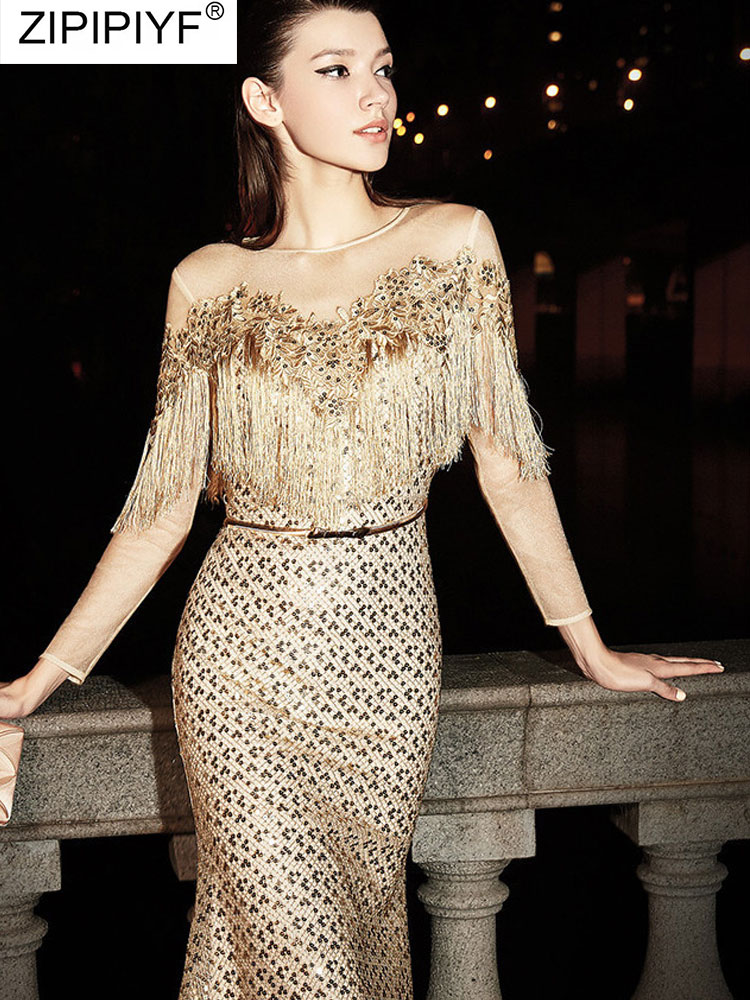 Sexy Sequins Dress Tassel Long Sleeve Skinny V Neck Elegant Sexy Stylish Prom Evening Knee Dresses