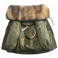 (TopFurMall)European Winter Women Parkas Jacket Coats Raccoon Fur Hoody Lady Warm Outerwear LF4176