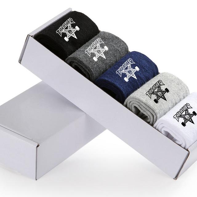 2017 nueva happy socks thrasher monopatín calcetines de los hombres de la calle de ocio de moda de algodón calcetines divertidos hombres trasher