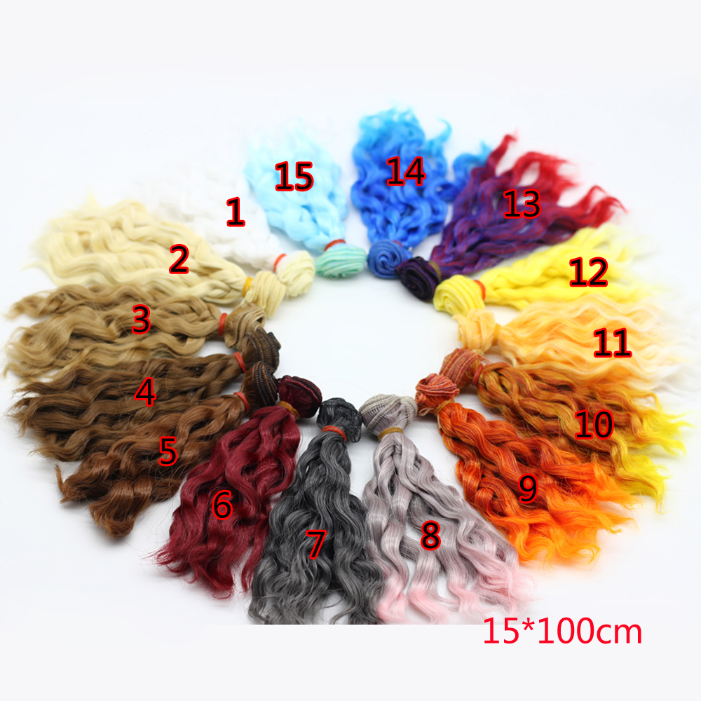 1 pcs 15cm*100CM black brown natural color heat resistant woollen curly colorful doll wigs hair for 1/3 1/4 1/6 BJD 8 colours colorful curly hair party cosplay long wavy wigs