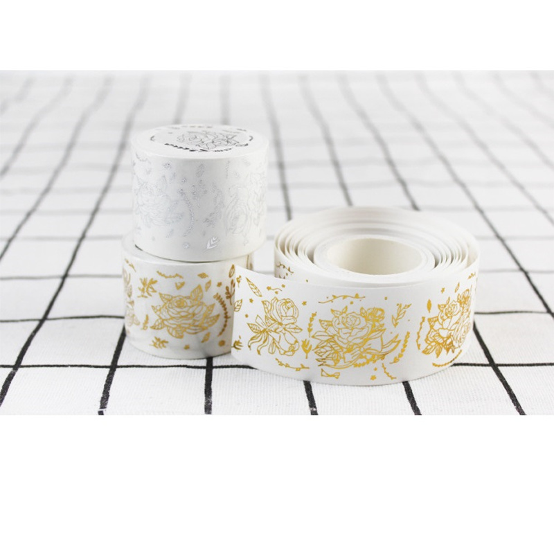 2 pcs Luxury silver gold washi tape set 35mm Rose flower paper washi tape Silver Gold sticker scrapbook album Stationery FJ311 in Office Adhesive Tape from Office School Supplies