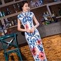 Elegant Women Long vestidos Cheongsam Long Qipao Vintage Chinese Traditional Dress Size:S M L XL XXL