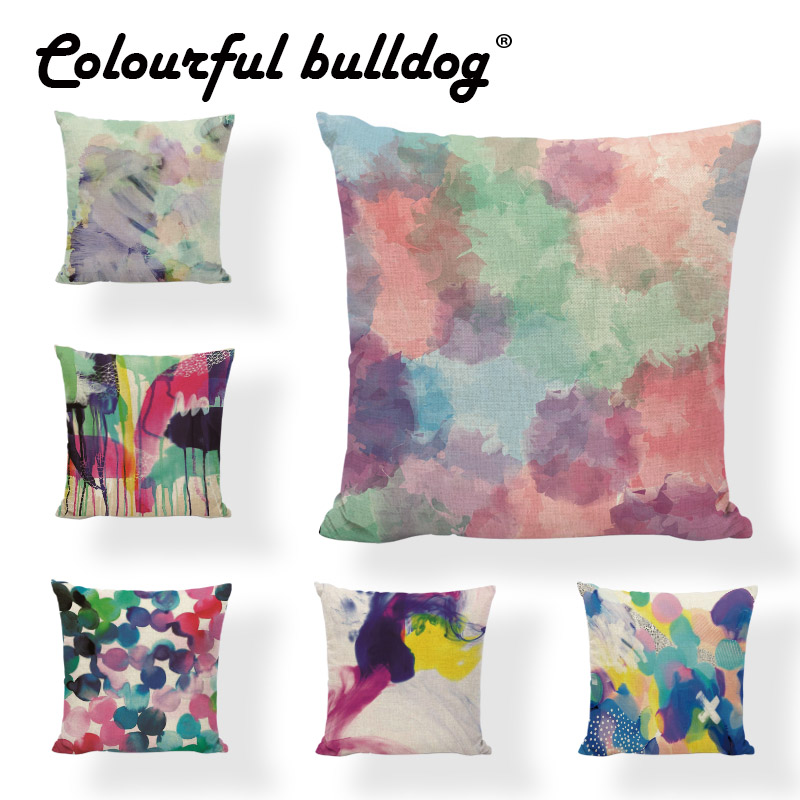 Watercolor Abstract Raindrops Blue Pillow Case Simple Pattern 43*43CM Cushion Cover Dot Striped Decor Living Room Office Couch