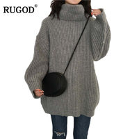 RUGOD Fashion Turtleneck Knitted Sweater Loose Long Sleeve Women Sweaters And Pullovers Casual Winter Solid Pull