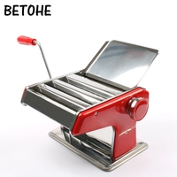 BETOHE Stainless Steel Ordinary 2 Blades Pasta Making Machine Manual Noodle Maker Hand Operated Spaghetti Pasta Cutter