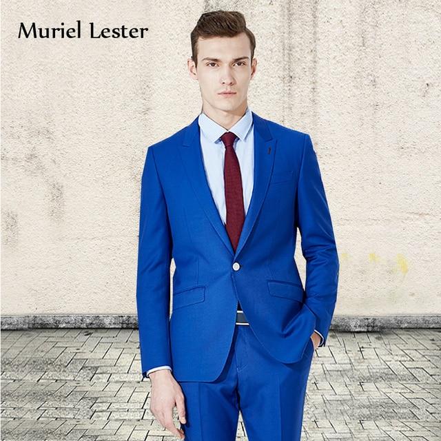 ML-54 trajes de novios para hombres 2018 Men suit Royal blue 3 piece  wedding groom smoking homme men wedding party blazer suit 811de5a84409
