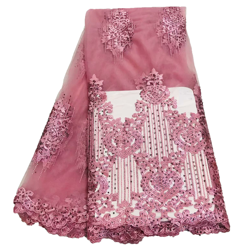HFX Nigeria Embroidered French Lace Pink Tulle Dress Net Lace High Quality Net African French Lace Fabric with Stones X1346-1HFX Nigeria Embroidered French Lace Pink Tulle Dress Net Lace High Quality Net African French Lace Fabric with Stones X1346-1