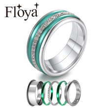 Floya Bague Interchangeable Bijoux Femme Original Stackable Filled Ring 8mm Wide Minimalist Statement Various Ring Jewelry Mujer(China)