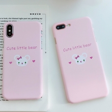 Coque for iPhone 7 Plus Case Cute Bear Painted Phone Cover Funda X 6 6S 8 Women Korean Style