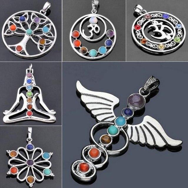 7 Chakra Đá Chakra Reiki Điểm cây của cuộc sống mặt dây chuyền quyến rũ mặt dây chuyền đồ trang sức Ankh Yoga quyến rũ 3D đá vòng cổ