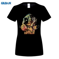 GILDAN Led Zeppelin On Fire T Shirts Women Rock And Roll Digital Printing 100 180gsm Combed
