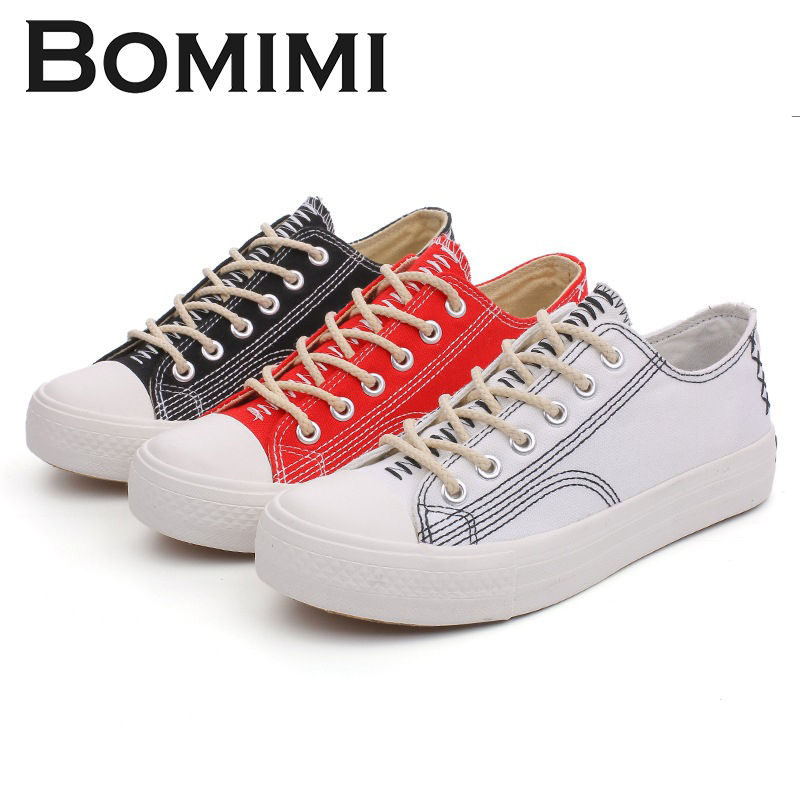 BOMIMI Women Canvas Shoes Woman Vulcanized Shoes Lace-up Casual Ladies Shoes Woman Sneakers rasmeup canvas women s sneakers 2018 new fashion lace up comfortable women flat shoes woman casual vulcanized shoes footwear