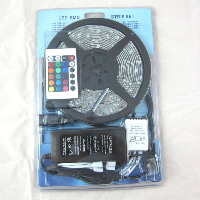 $10 off per $300 order Fexible LED Strip 3528 RGB SMD 5M 300LEDs Waterproof +24 Key IR Remote + 12V 3A power supply Transformer