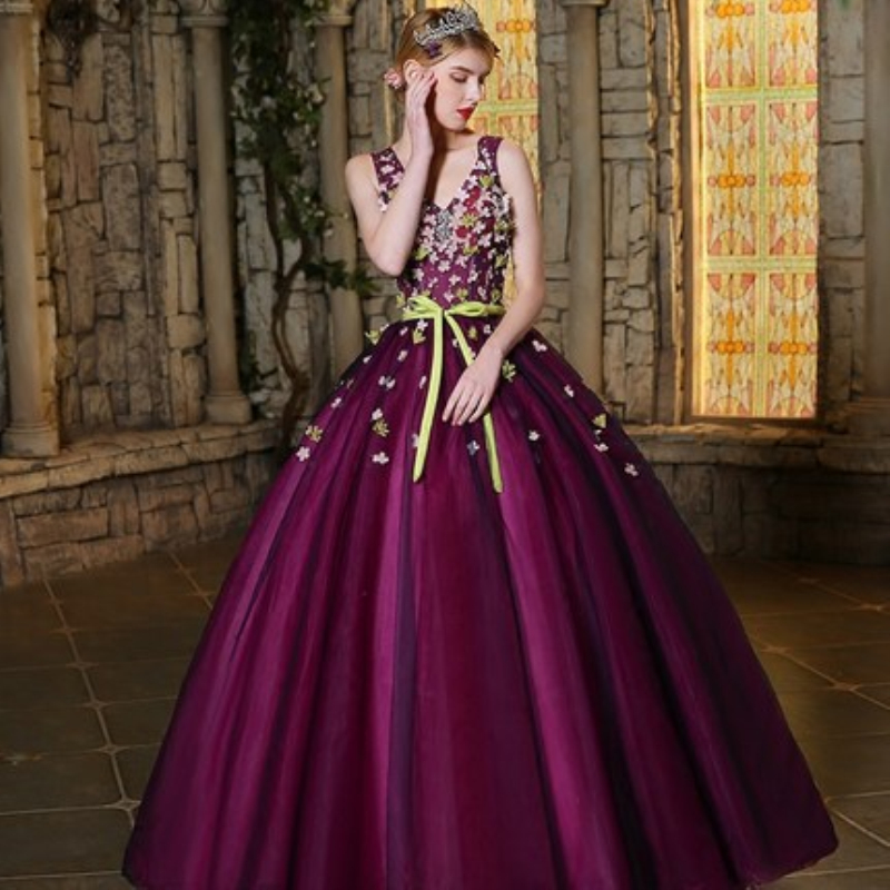 Long Ball Dresses 2019 Purple Appliques Quinceanera Dresses Vestidos De 15 Sixteen Sweet Debutante Gowns Robe De Bal Puffy Dress