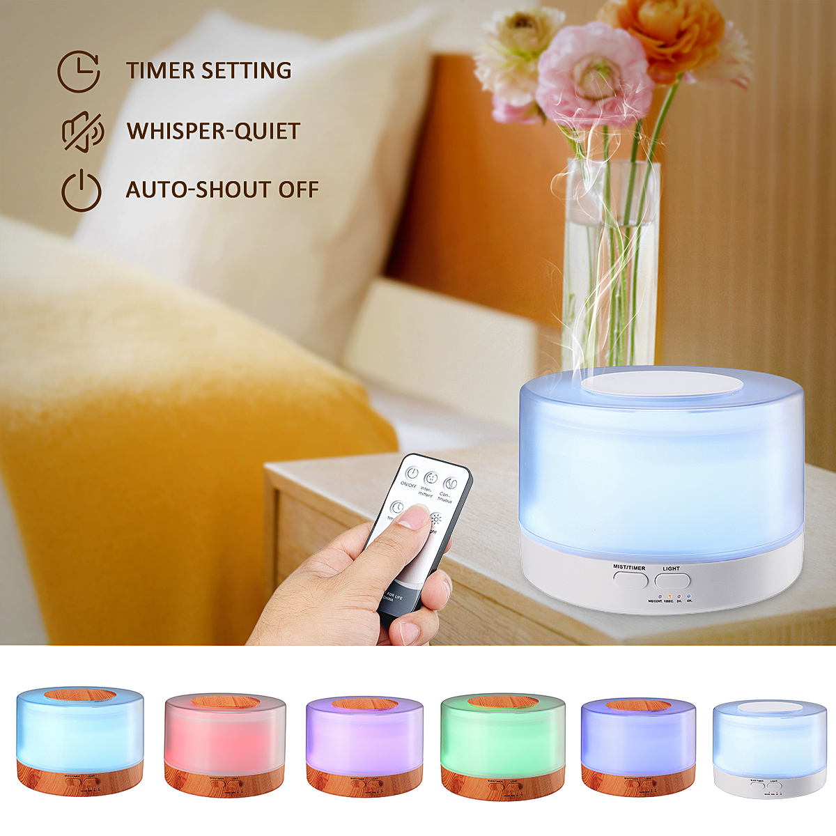 700ml Water Tank Ultrasonic Humidifier Aroma LED Oil Diffuser Remote Control Air Purifier Auto Aroma Therapy UK/US/AU/EU Plug
