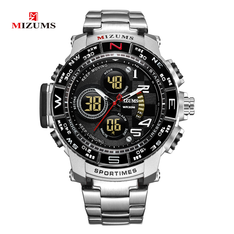 2018 brave for men cool big case golden steel band dual time zones watches for men led digital quartz mens watches drop shipping 2019  (57)