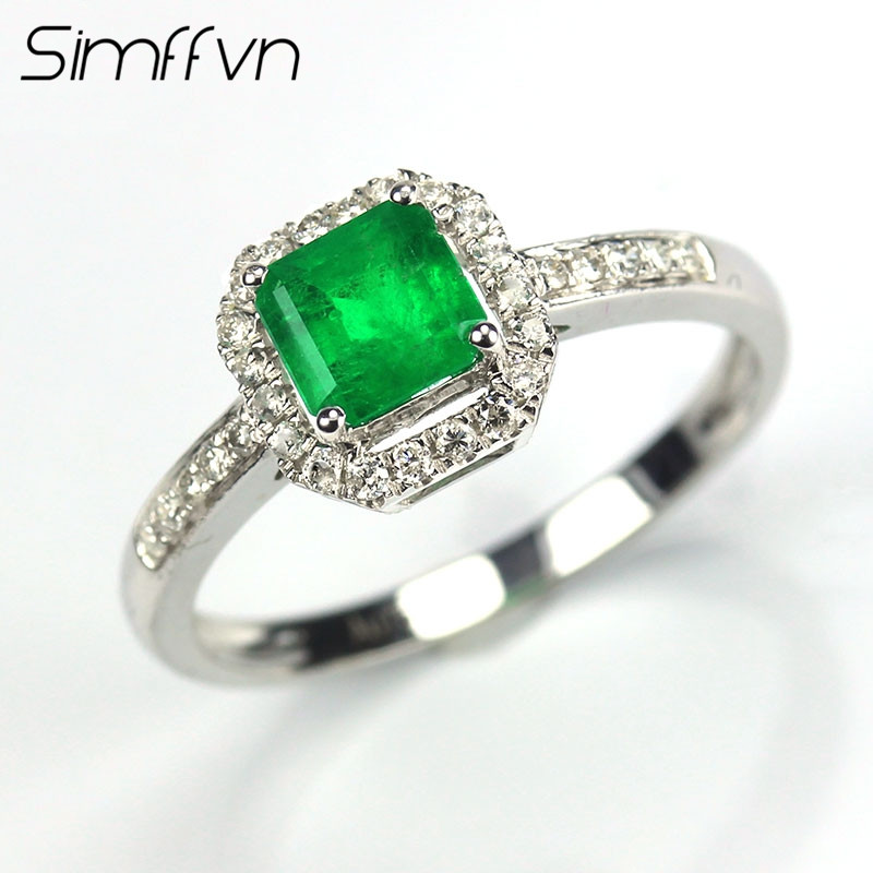 Simffvn Halo 18K White Gold 0.61CT Emerald Rings For Women Engagement Ring Gemstone Bridal Ring Wedding Set