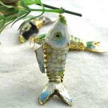 6 pièces, Cloisonne chinoise, 6 pièces comme le vrai poisson, 6 couleurs environ 55mm, pendentifs en forme de poisson rouge, blanc, bleu