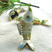 6 uds. De colgantes de carpa de pez Real cloisonné chino, 6 colores, aproximadamente 55mm, colgantes de carpa azul blanca