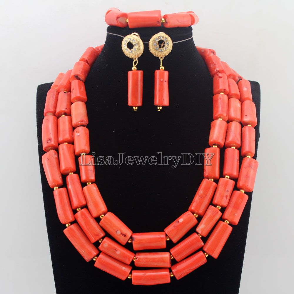 New Orange African Coral Beads Jewelry Sets Fashion Nigerian Wedding African Costume Beads Jewelry Set Free Shipping HD7523